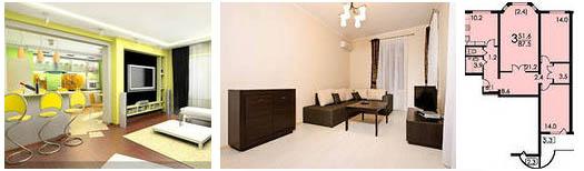 3 комнаты в квартире
