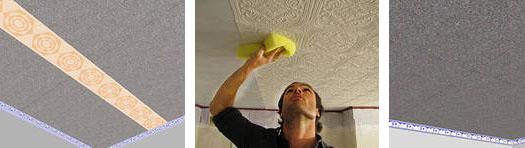 поклейки плитки на потолок