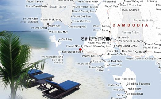 Сиануквиль на карте Камбоджи