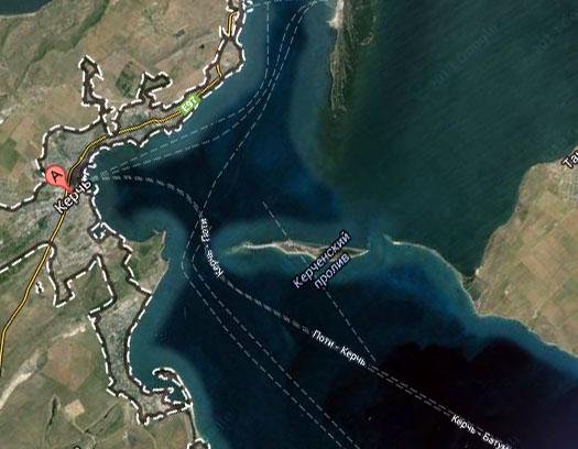 место строительства Керченского моста
