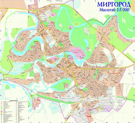 Карта города Миргород с