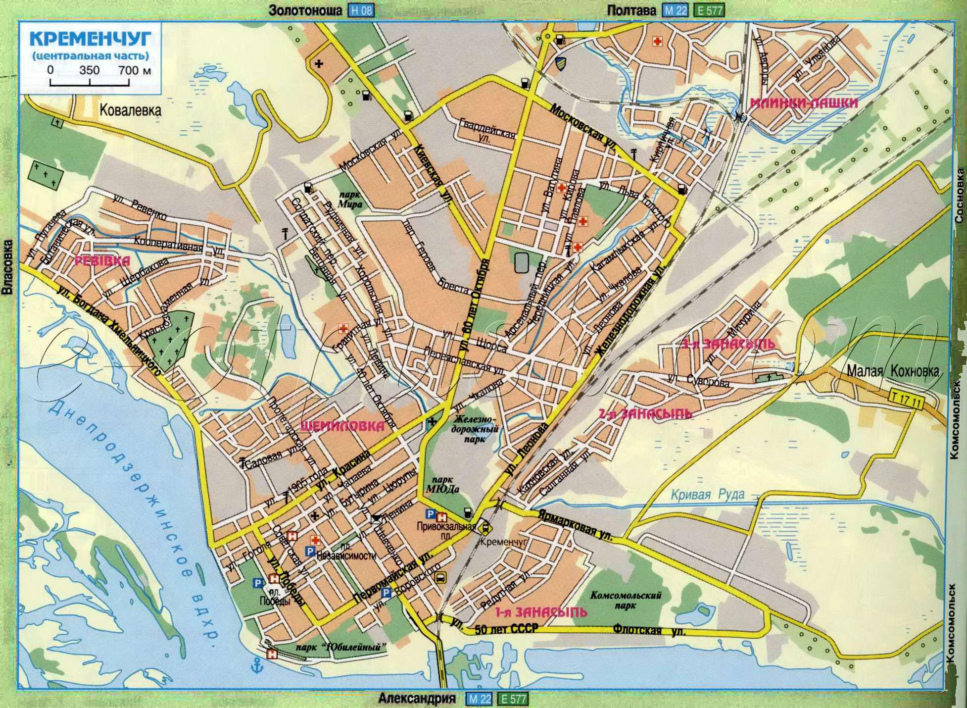 Карта города Кременчуга в Полтавской области: http://poltava-obl.ru/index.php?file=map_kremenchug