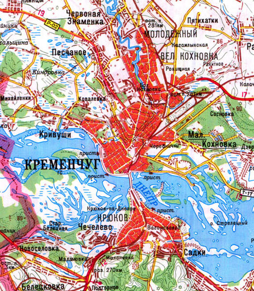 карта Кременчуга