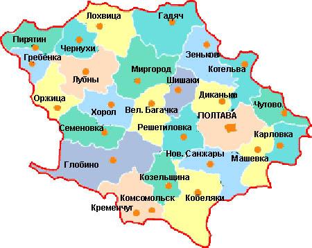 Карта полтавской области по