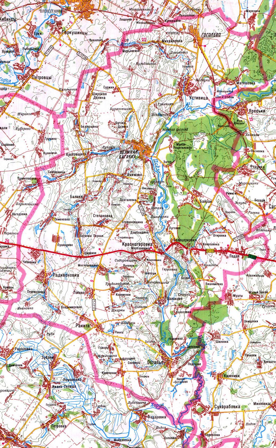 карта Великобагачанского района в Полтавской области