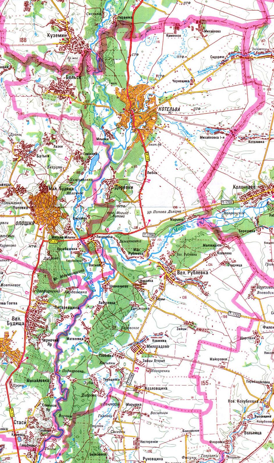 Детальная карта Котеловского района