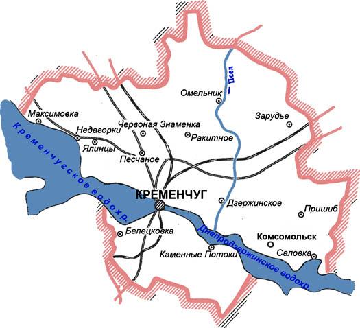 карта Кременчуга с улицами и