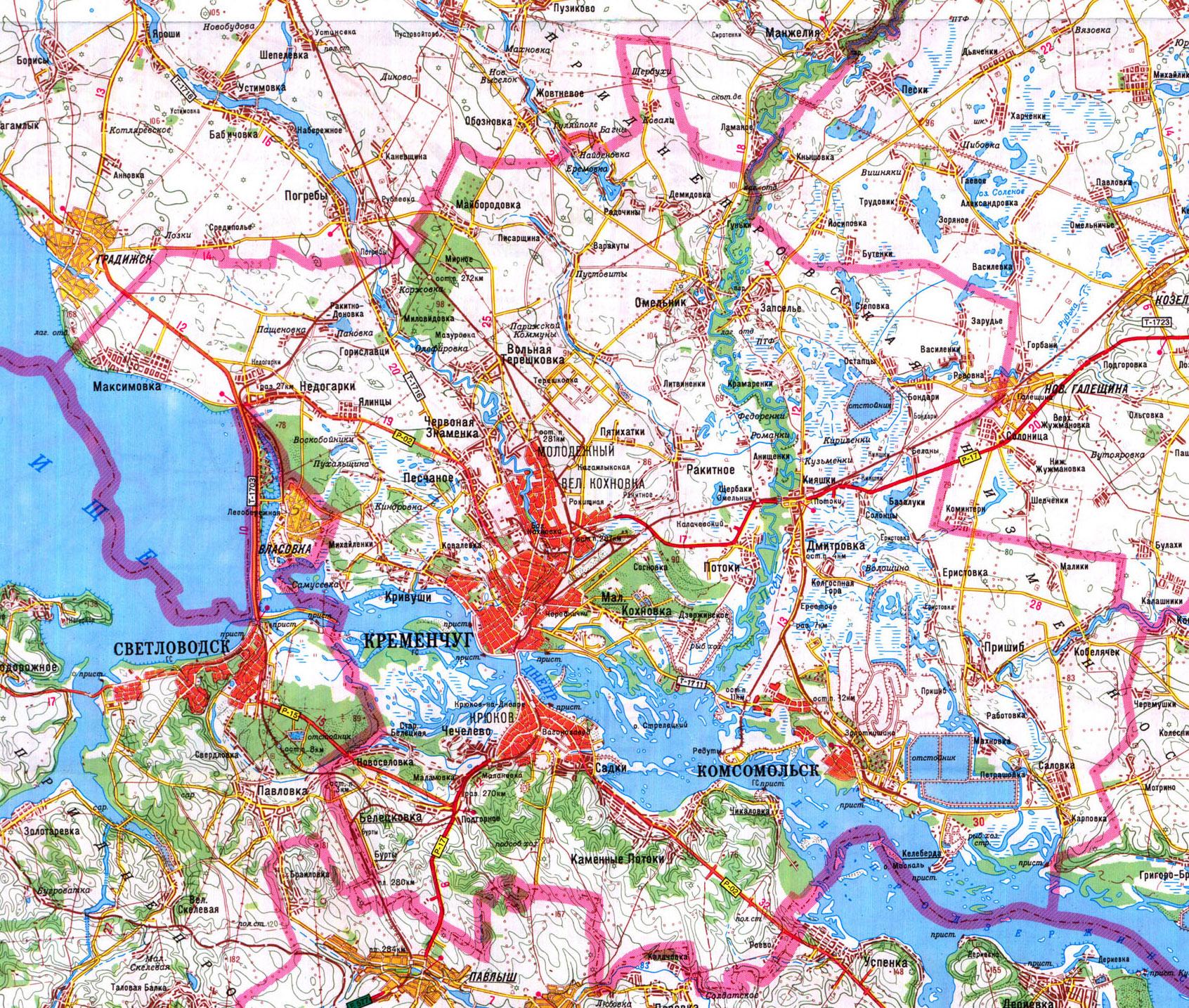 Кременчугский район карта