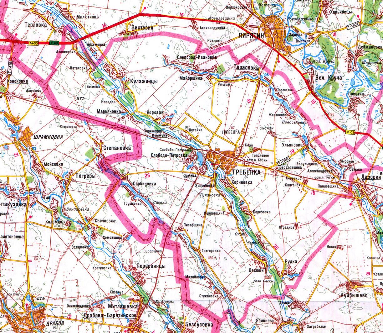 карта Гребенковского района в Полтавской области