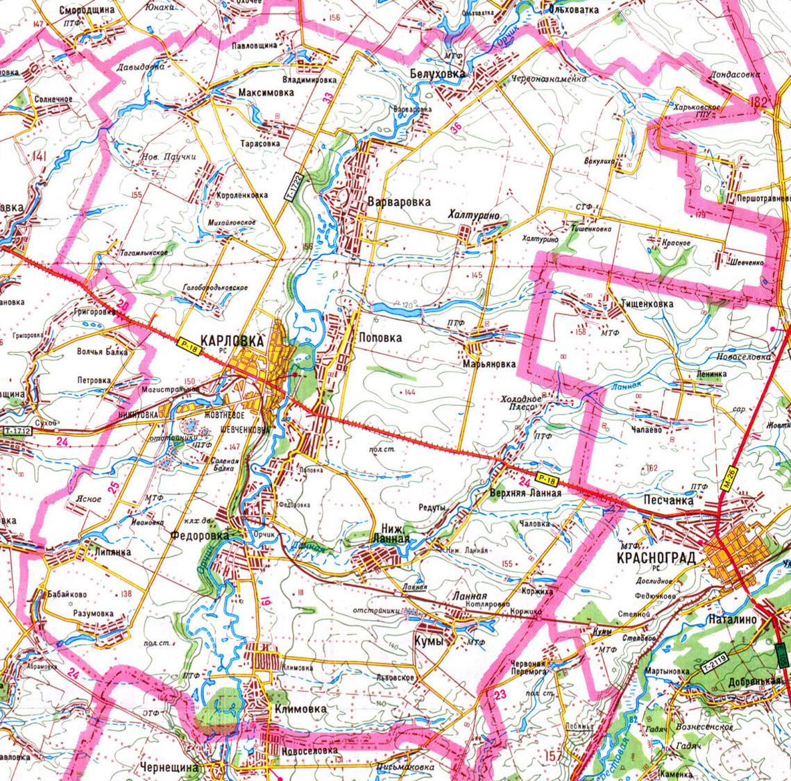 карта Карловский район, Полтавская область