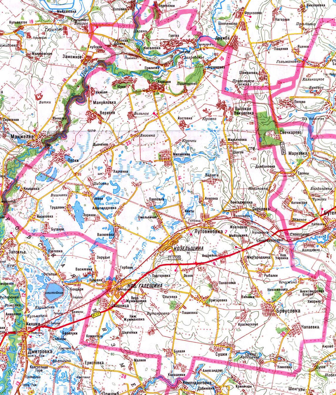 Подробная карта Козельщинского района